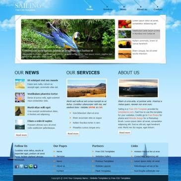 Website template on the marine theme